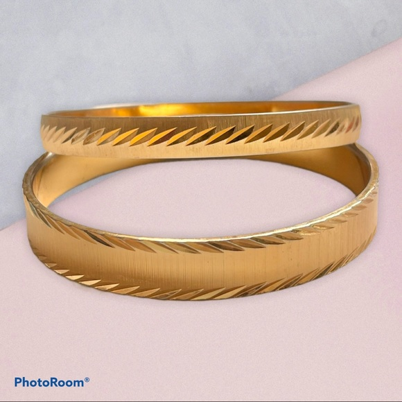 Vintage Monet diamond cut bangle bracelets